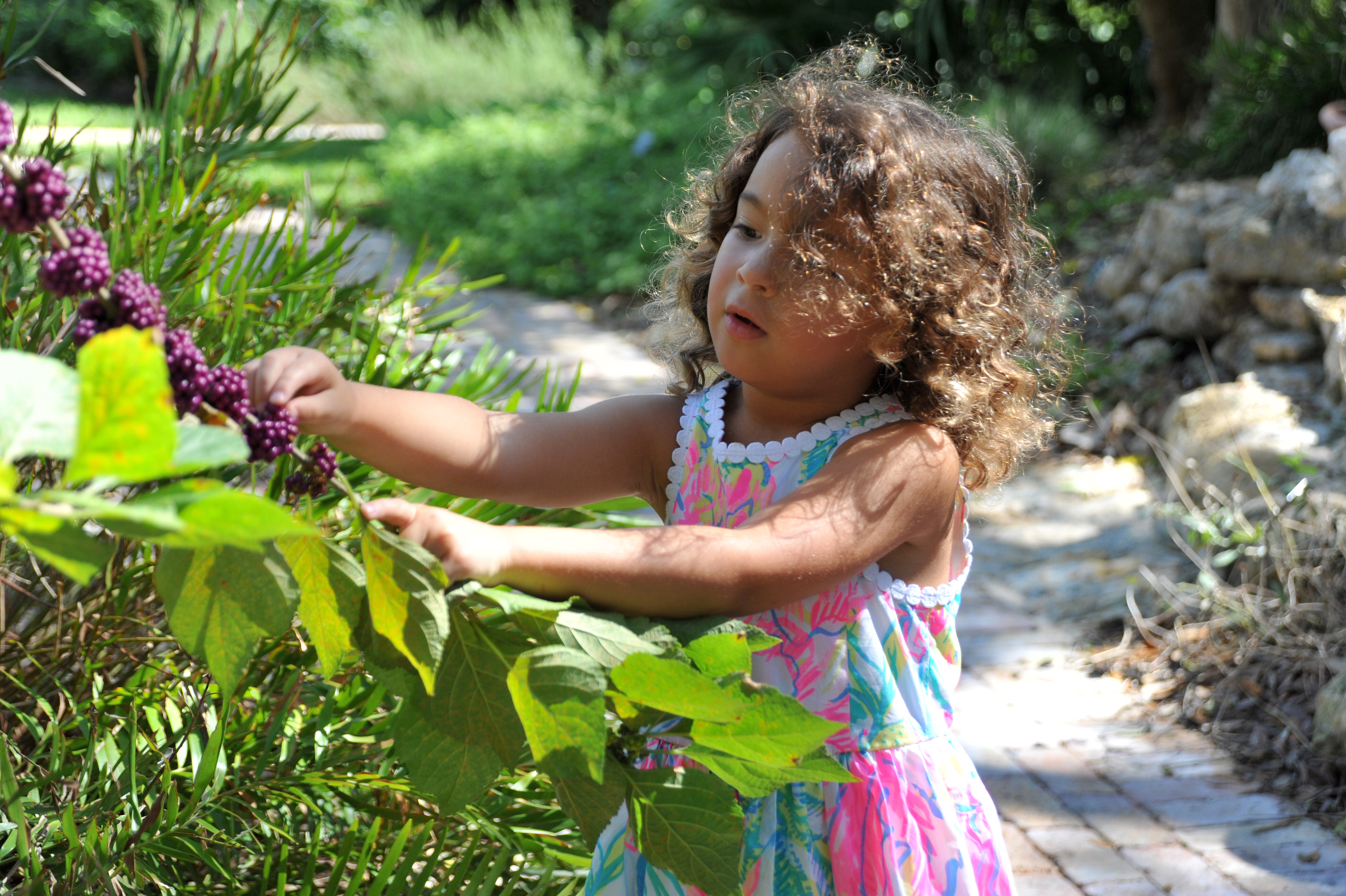 Child with beautyberry